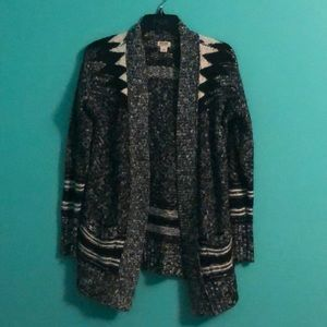 Black and White tribal print cardigan